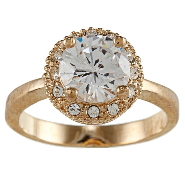 City by City City Style Gold Clear CZ Solitaire Ring