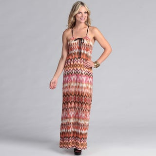 Institute Liberal Women's Beaded Strap Jersey Maxi Dress with Tribal Print
