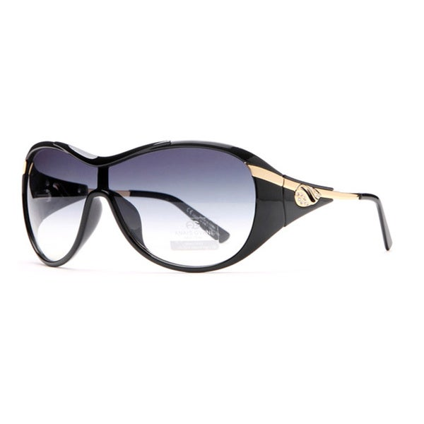 Anais Gvani Glam Shield Fashion Sunglasses with Gold Temple Accent