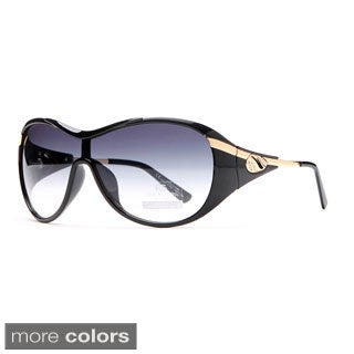 Anais Gvani Glam Shield Fashion Sunglasses with Gold Temple Accent