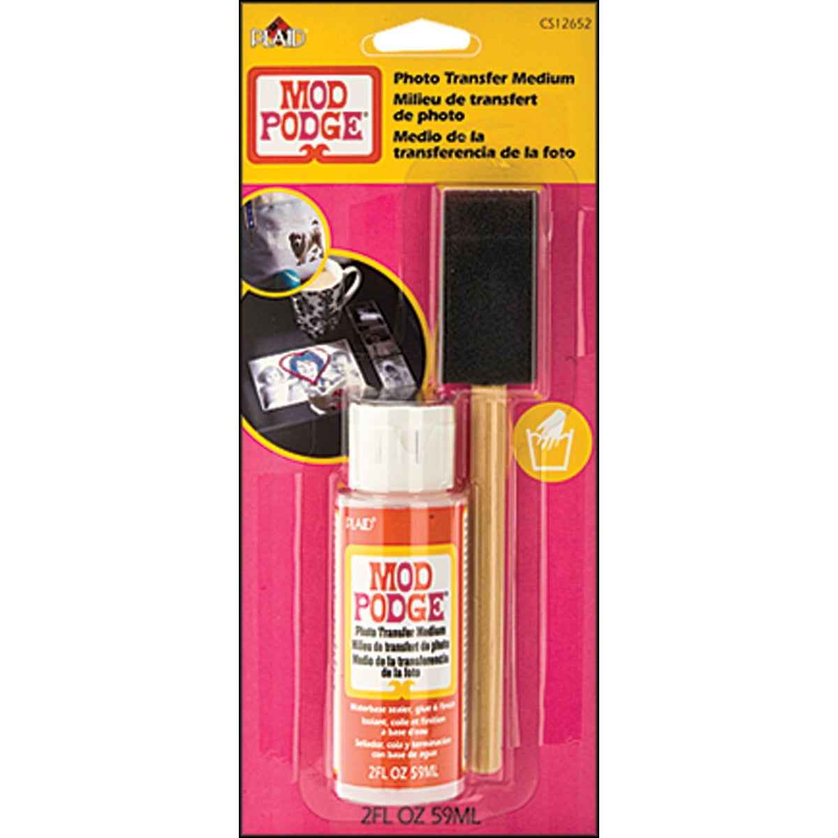 Mod Podge Photo Transfer Medium W/Foam Brush 2 Ounces Carded-