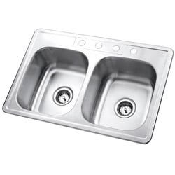 Self-Rimming Satin-Finish Double-Bowl Kitchen Sink