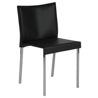 Euro Style Riley Chromed Steel and Leather Chair (Set of 2)