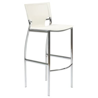Euro Style White Leather Bar Chair (Set of 2)