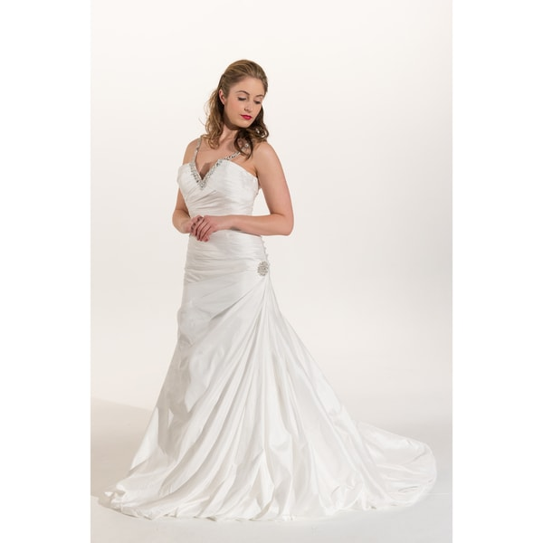 IK Bridal Couture White Taffeta Crystal Paved Neckline Wedding Gown