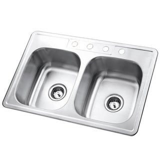 Double Bowl Self-rimming 33-inch Stainless Steel Kitchen Sink