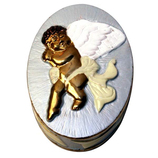 Cristiani Collezione Adorable Pewter Angel Multi-colored Trinket Box