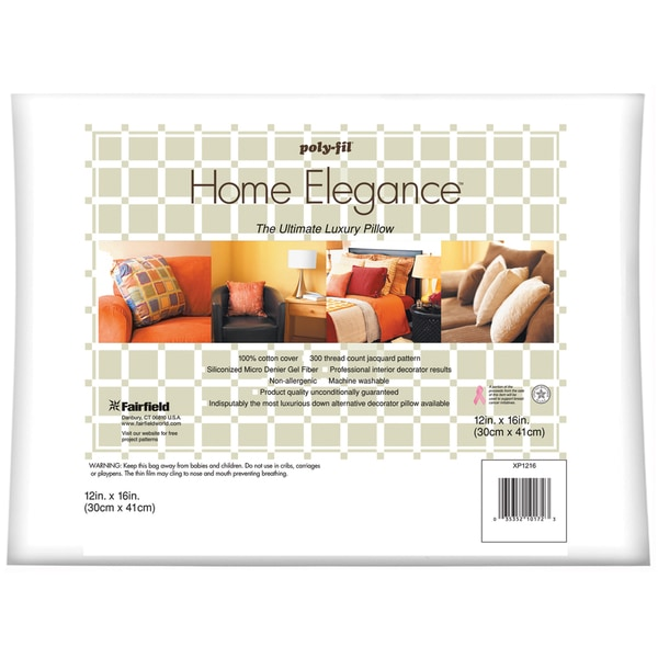 "Home Elegance Pillow 12""X16""-White FOB:MI"