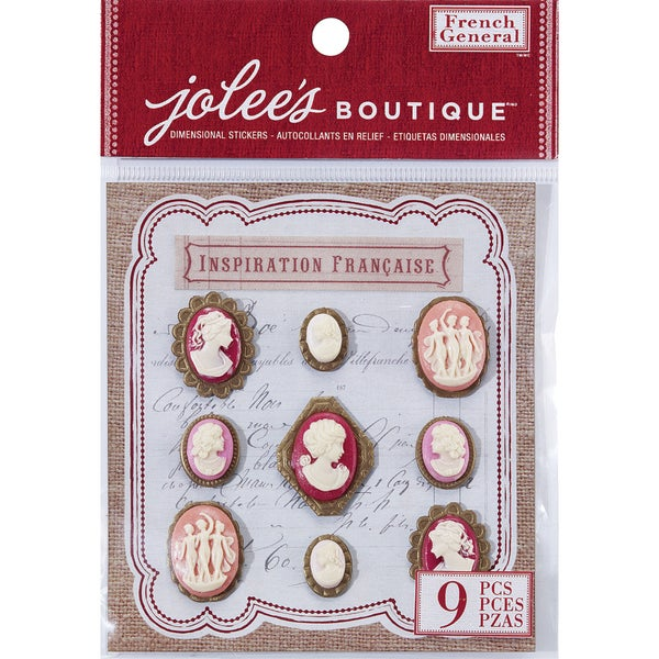 French General Dimensional Stickers 9/Pkg-Layered Cameos