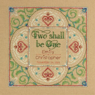 """Two As One Wedding Record Counted Cross Stitch Kit-10""""X10"""" 14 Count"""