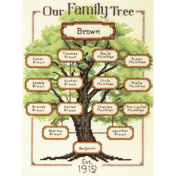 """Our Family-Family Tree Counted Cross Stitch Kit-9""""X12"""" 14 Count"""