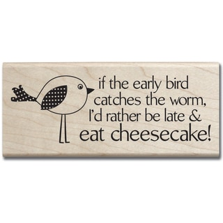 Mounted Rubber Stamp 2X5-Eat Cheesecake