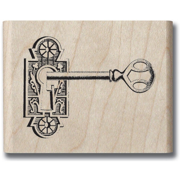 "Mounted Rubber Stamp 1.5""X1.5""-Romantique Key"