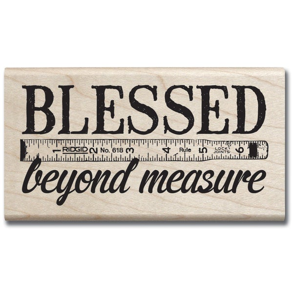 """Mounted Rubber Stamp 2""""X3.5""""-Blessed Beyond Measure"""