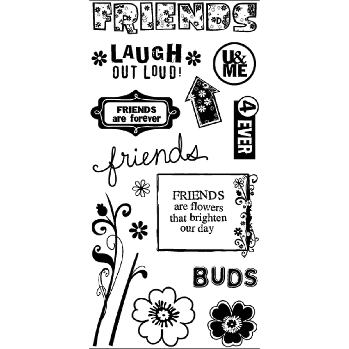"Art Warehouse Clear Stamps 4""X8"" Sheet-Friends"