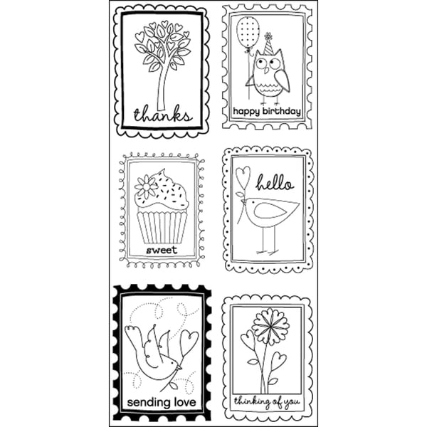"""Art Warehouse Clear Stamps 4""""X9"""" Sheet-Block Words Phrases"""