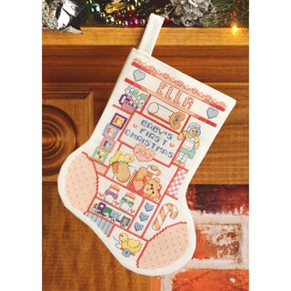 "My 1st Christmas (Girl) Stocking Counted Cross Stitch Kit-10"" Long 14 Count"