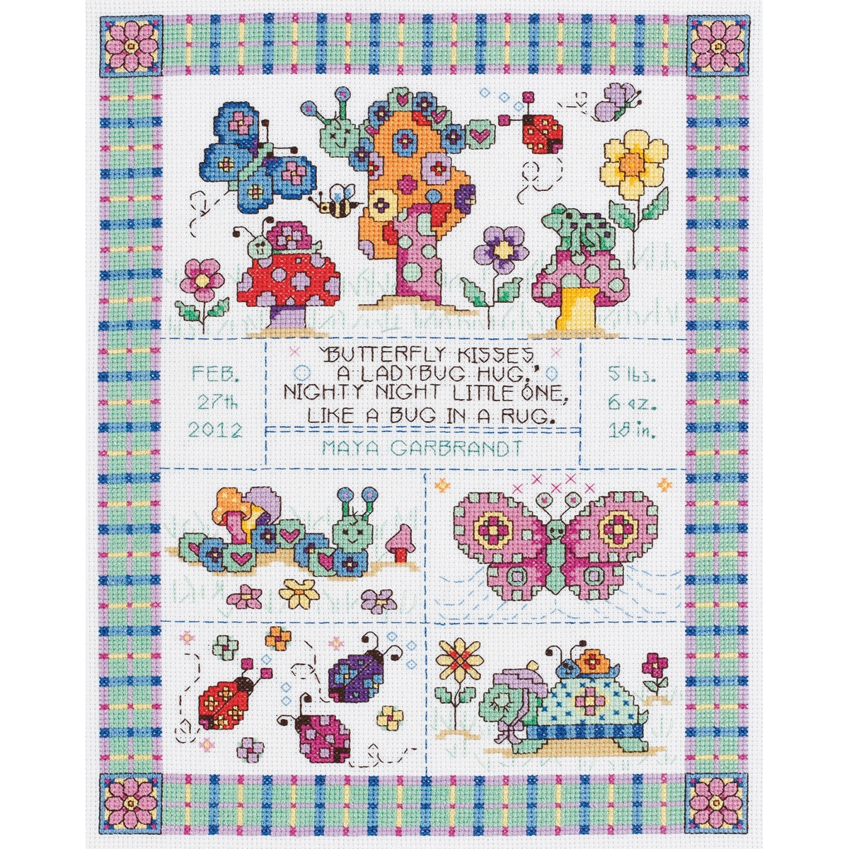 "JANLYNN Bug In A Rug Birth Announcement Counted Cross Stitch Kit-9-3/4""X12-3/4"" 14 Count at Sears.com"