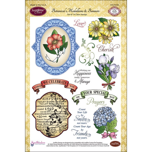 "JustRite Stampers 6""x8"" Clear Stamp Set-Botanical Medallions & Banners 14pc"
