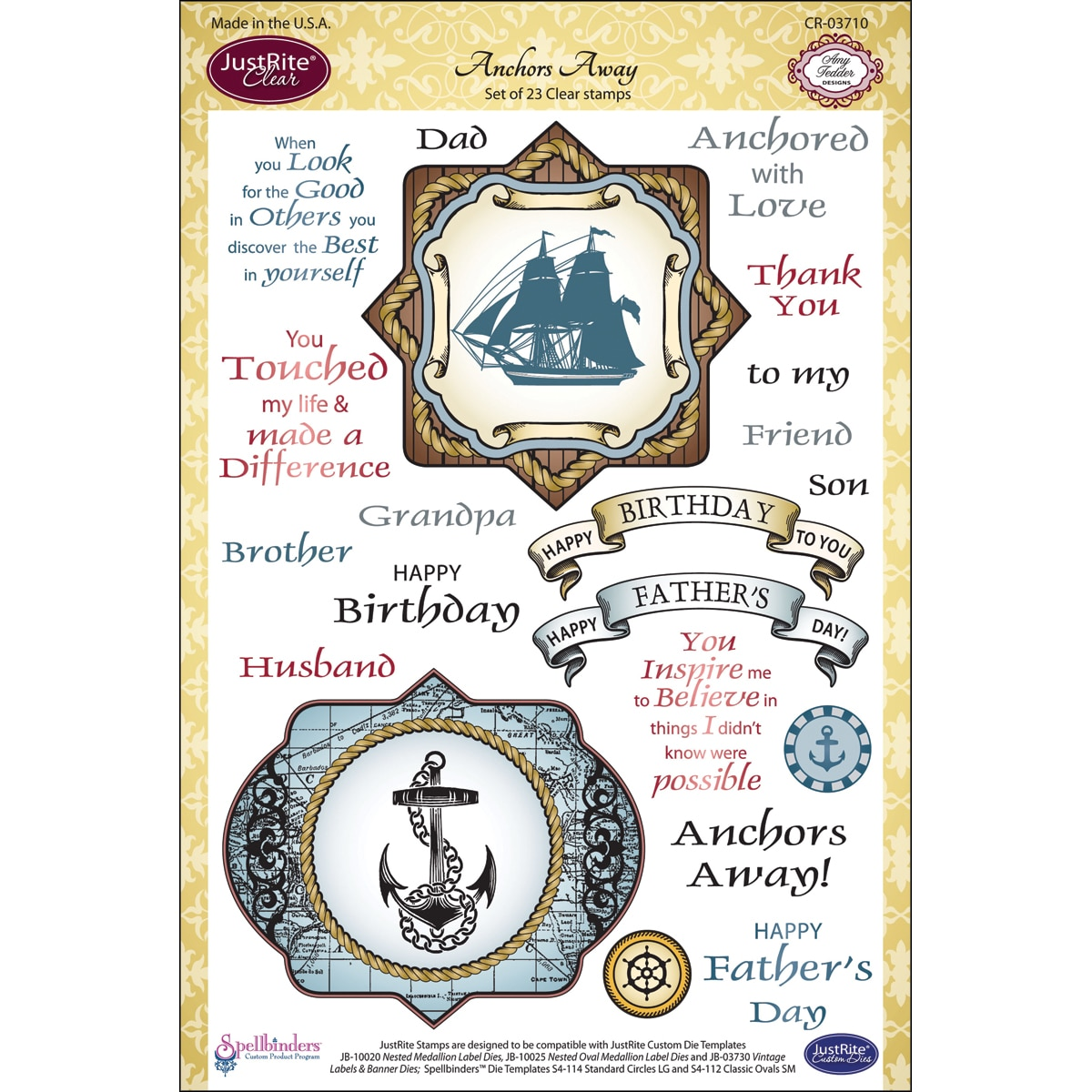"JustRite Stampers 6""x8"" Clear Stamp Set-Anchors Away 23pc"