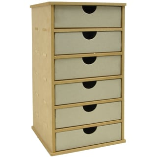 Beyond The Page MDF Tower Storage With 6 Chipboard Drawers-7