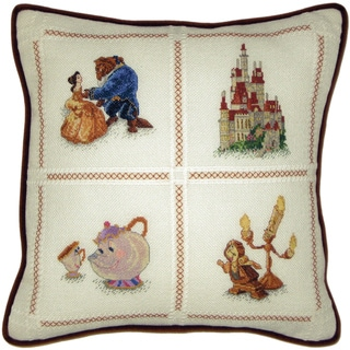 """Beauty & The Beast Pillow Counted Cross Stitch Kit-14""""X14"""" 18 Count"""