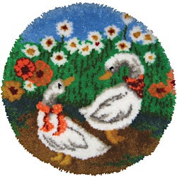 "Latch Hook Kit 27"" Round-Geese Rug"