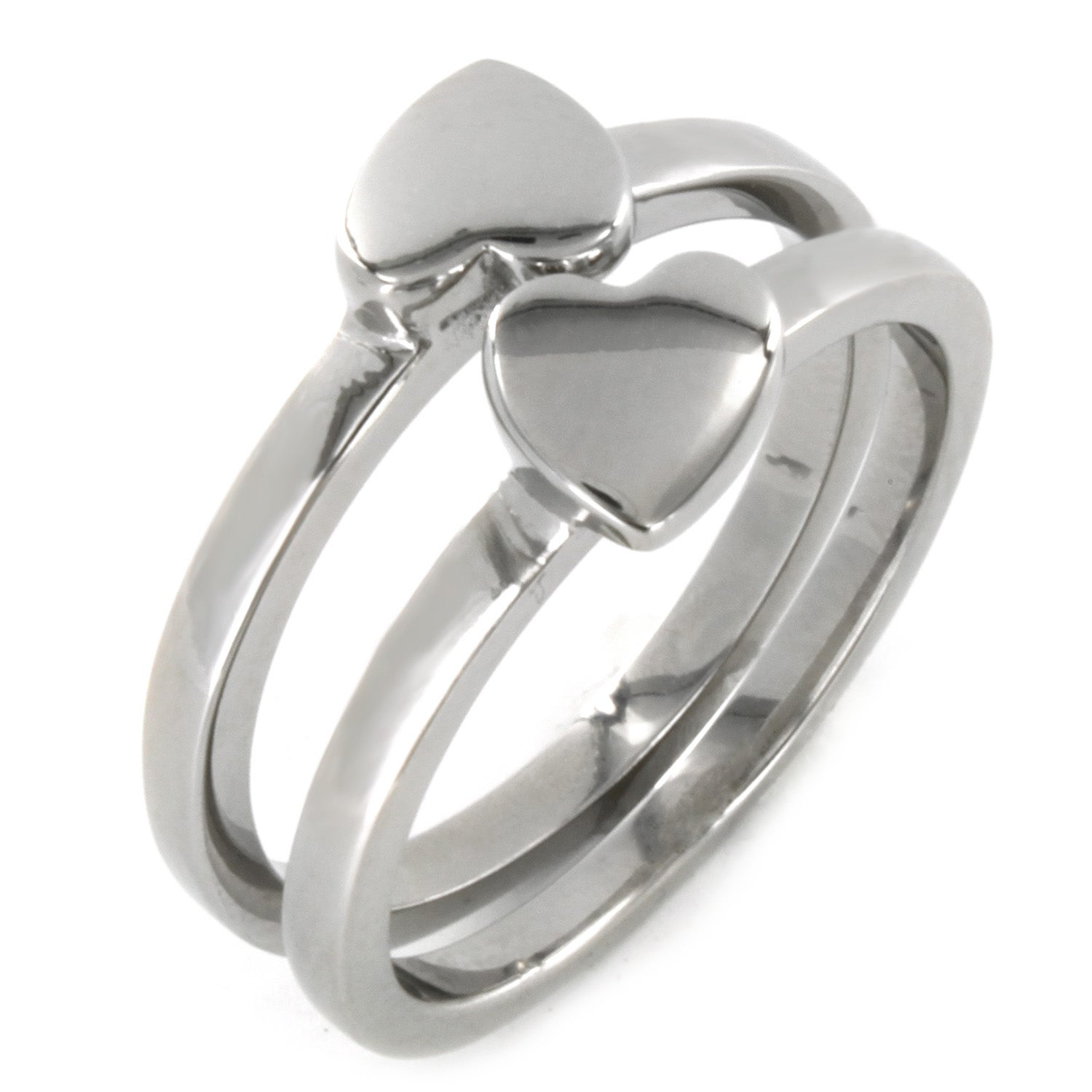 West Coast Jewelry Stainless Steel 'Best Friend' Heart 2-piece Ring Set