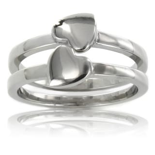 Stainless Steel 'Best Friend' Heart 2-piece Ring Set
