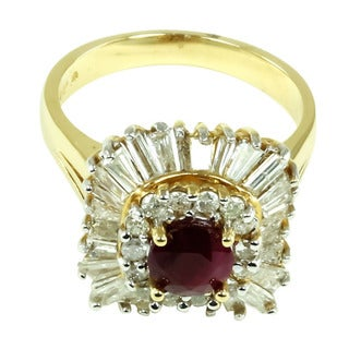 14k Yellow Gold Ruby and 1 1/3ct TDW Diamond Ring (I-J, I2-I3)
