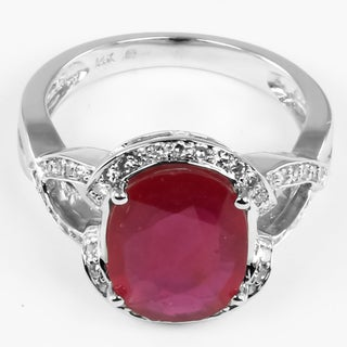 14k White Gold Ruby and 1/4ct TDW Round-cut Diamond Ring (I-J, I1-I2)