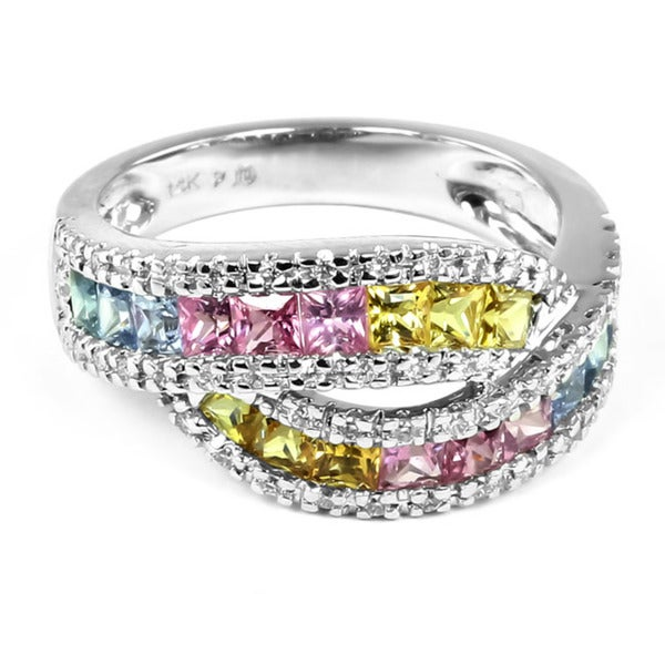 14k Gold Multi-colored Sapphire and 1/4ct TDW Round-cut Diamond Ring (H-I, I1-I2)