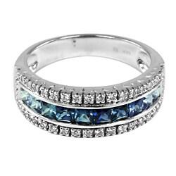 14k Gold Sapphire and 1/4ct TDW Round-cut Diamond Ring (H-I, I1-I2)