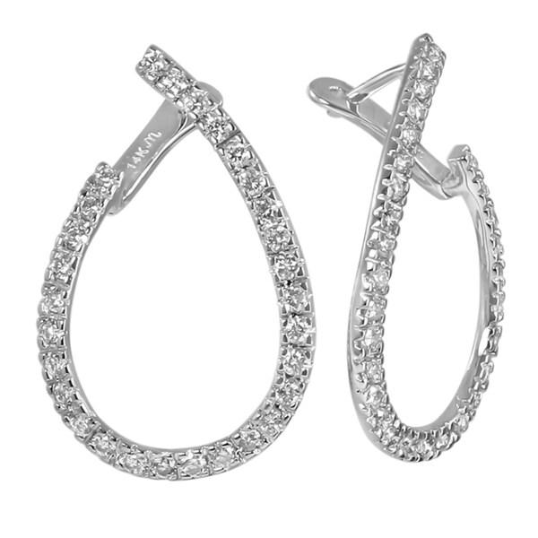14k White Gold 1 1/2 Carat TDW Leverback Diamond Hoop Earrings (H-I, I1-I2)