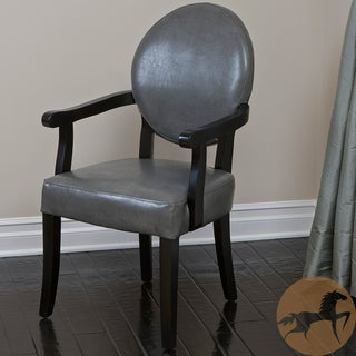 Christopher Knight Home Henley Grey Wood Dining Room Arm Chair with Bonded Leather Upholstery