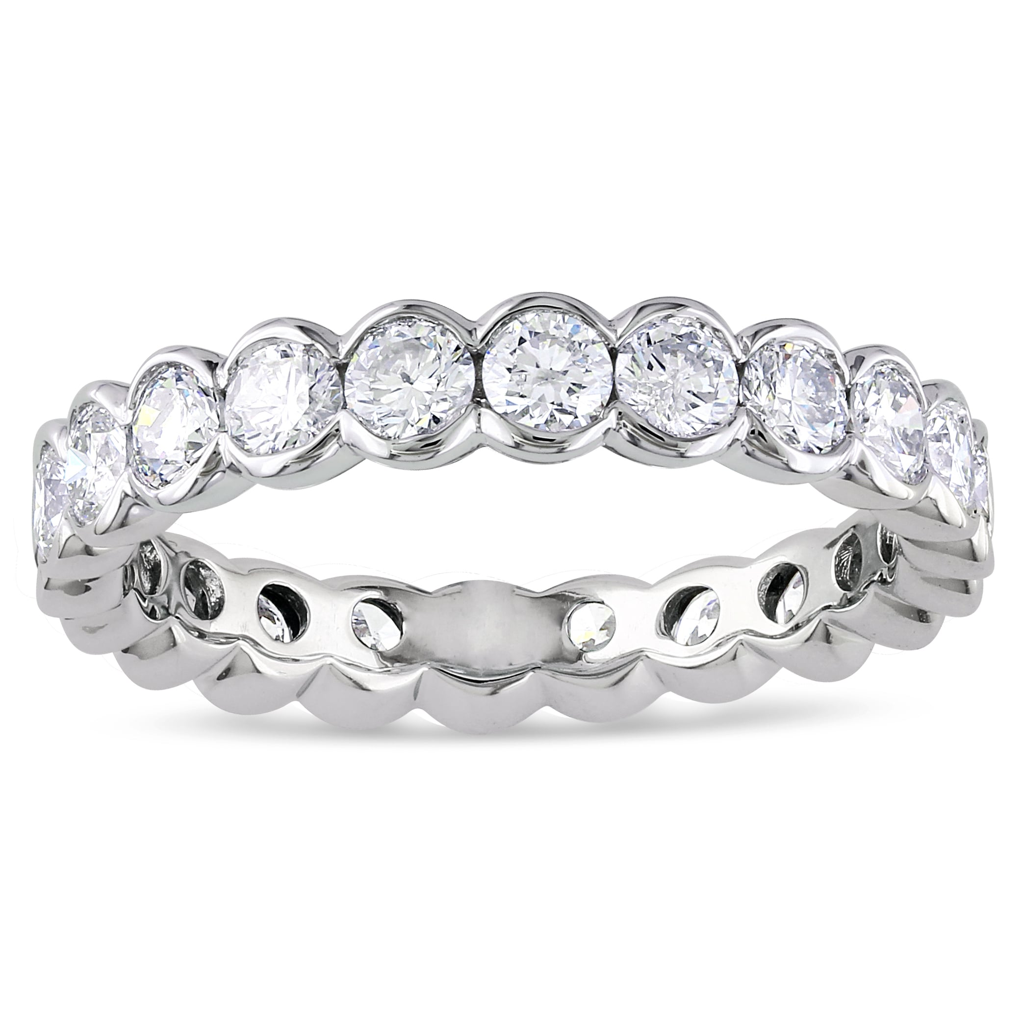 Miadora 14k White Gold 2ct TDW Certified Diamond Eternity Ring (G-H, I1-I2)
