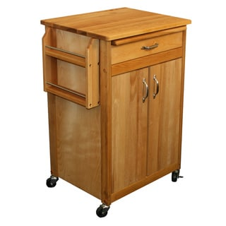 Catskill Craftsman Butcher Block Removable Cutting Board Kitchen Cart