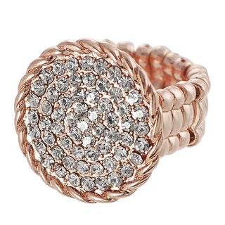 Journee Collection Coppertone White Rhinestone Disk Stretch Ring