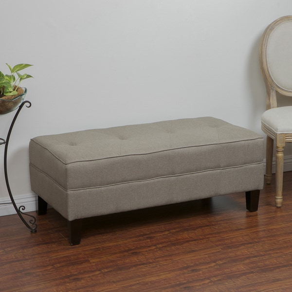 Christopher Knight Home Cheshire Light Brown Fabric Bench Ottoman