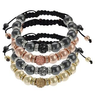 Journee Collection Goldtone Acrylic and Rhinestone Macrame Bracelet