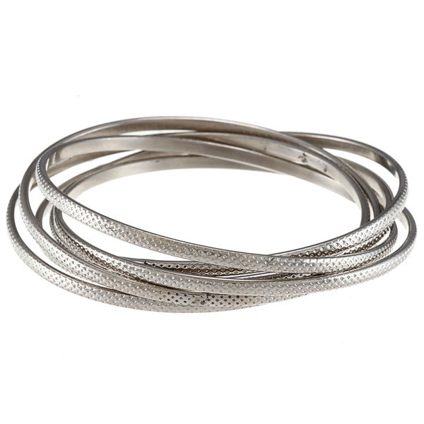 Stainless Steel Textured 6-piece Interconnected Bangle Bracelet Set