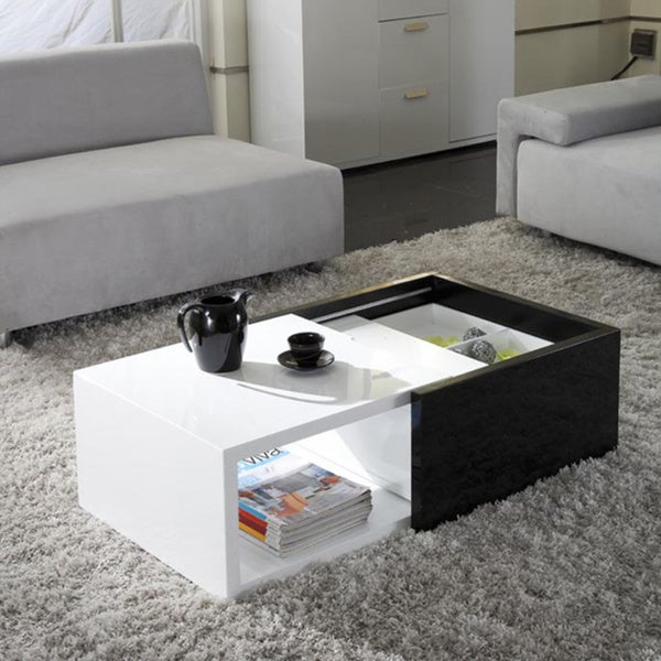 Karla High-gloss Lacquer Finish Hide-away Storage Coffee Table
