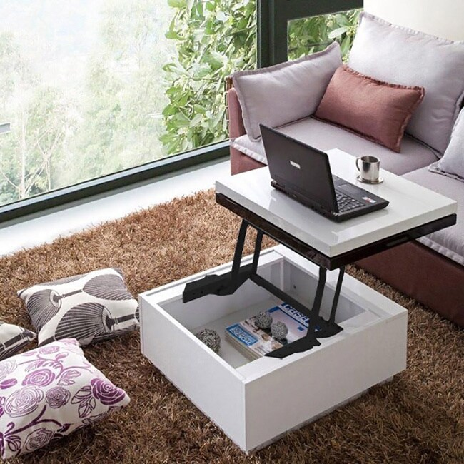 nikka high gloss lacquer finish swivel lift top hidden storage coffee table overstock shopping. Black Bedroom Furniture Sets. Home Design Ideas