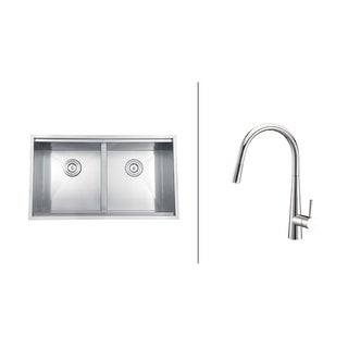 Ruvati Stainless-Steel Kitchen Sink/Polished Chrome One-Handle Faucet Set