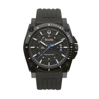 Bulova Watch Men's Precisionist Champlain Black Dial Rubber Strap