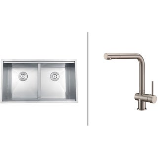 Ruvati Stainless-Steel Undermount Kitchen Sink/Brushed Nickel Faucet Set