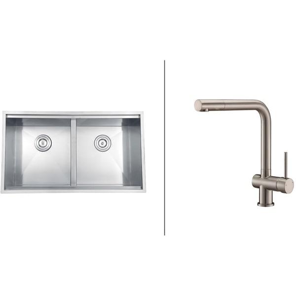 Ruvati Stainless-Steel Undermount Kitchen Sink/Brushed Nickel Faucet Set