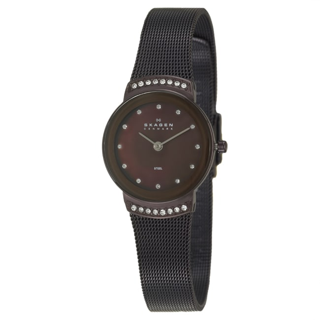 Skagen Women's 'Mesh' Black Stainless Steel Crystals Watch
