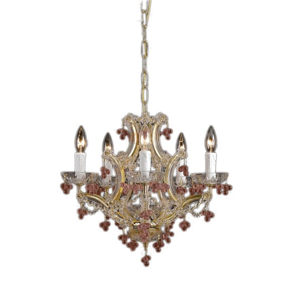 Crystorama Maria Theresa Collection 5-light Polished Brass Chandelier