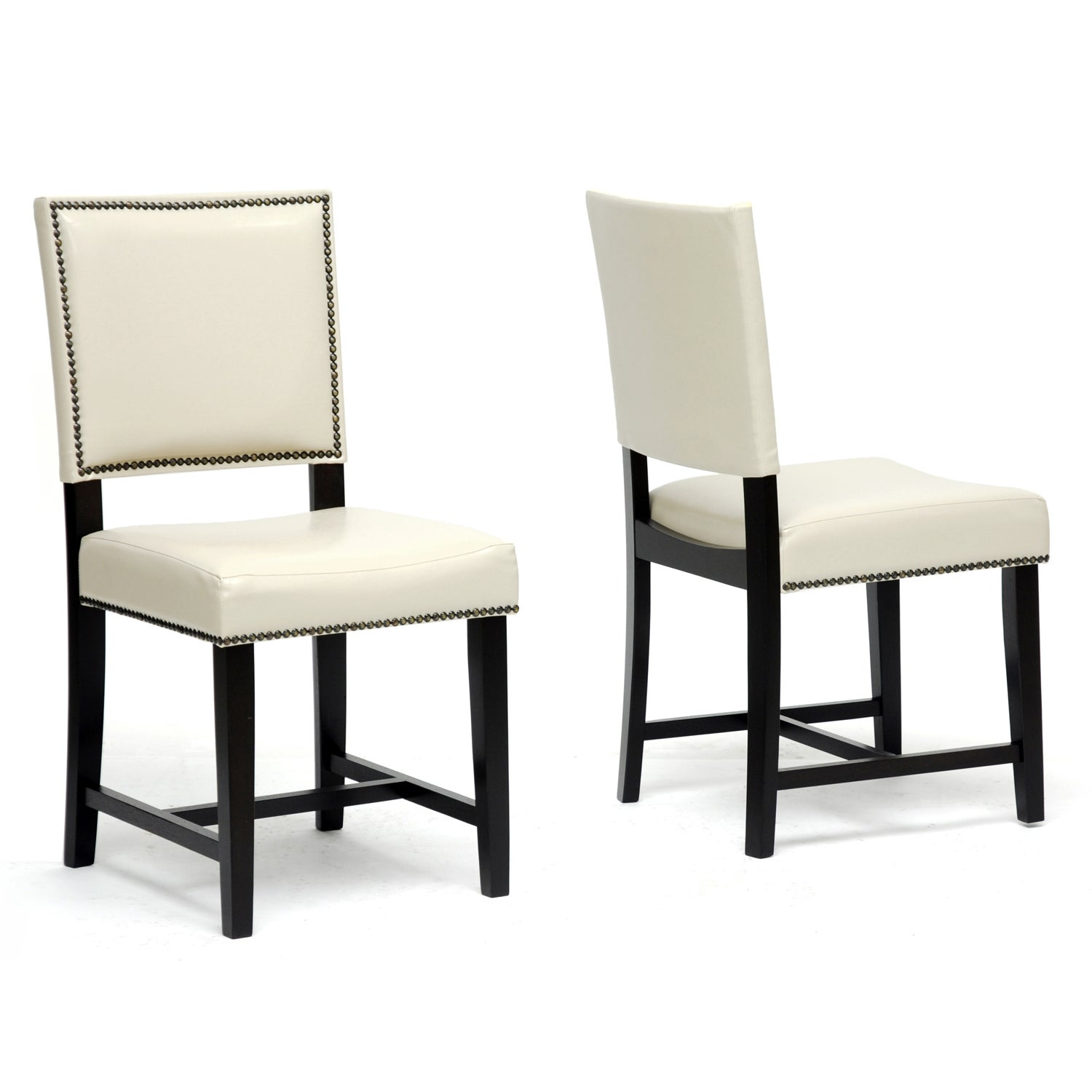 baxton studio nottingham cream faux leather modern dining chairs set